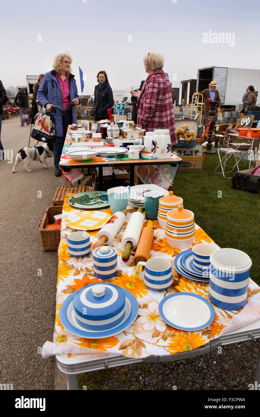 UK, England, Lincolnshire, Lincoln, Antiques Fair, table of blue and white cornishware crockery - Stock Image
