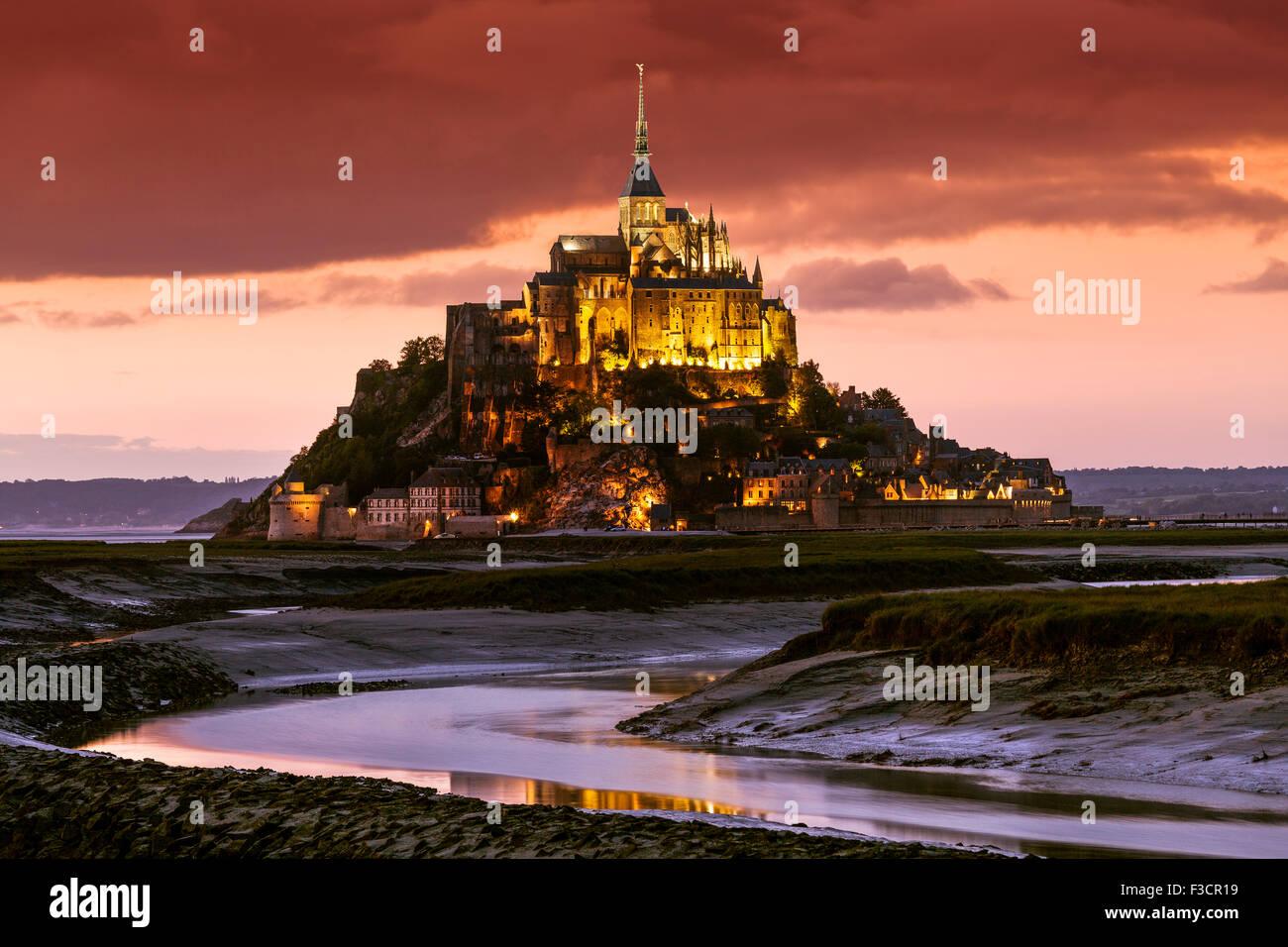Couesnon river Le Mont-Saint-Michel Saint Michael Mount Benedictine abbey Lower Normandy Manche France Europe - Stock Image