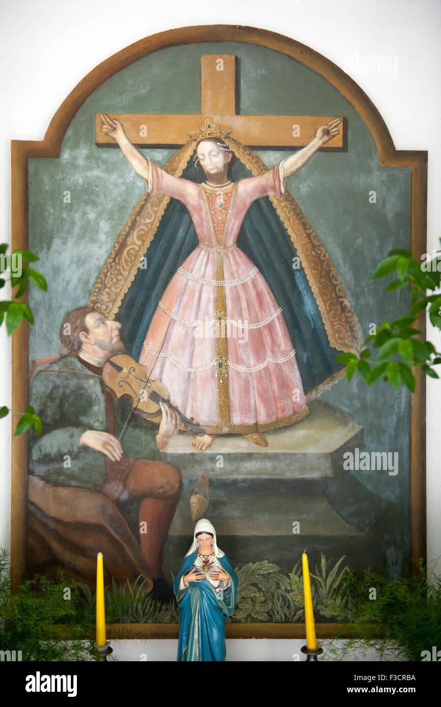 Österreich, Niederösterreich, Mostviertel, Gaming, Gemälde der hl. Kümmernis in einer Kapelle - Stock Image
