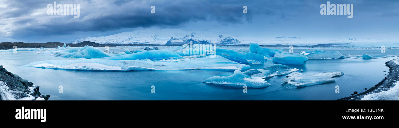 ice in the galcial lagoon at Jökulsárlón, Iceland - Stock Image