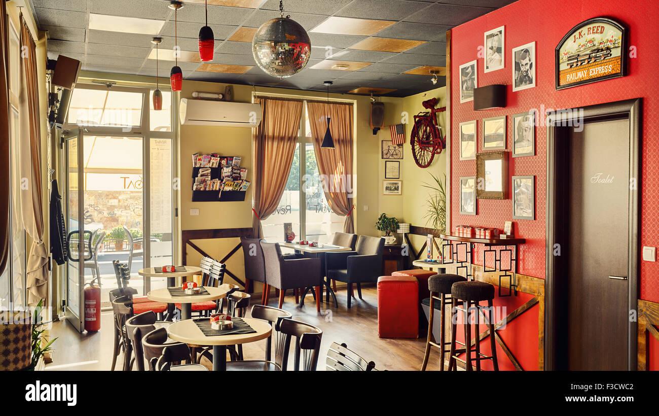 Cacak serbia august  interior design of a cafe