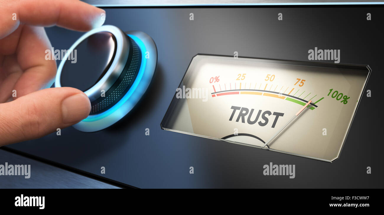 Hand turning a knob up to the maximum, Concept image for illustration of trust in business. - Stock Image
