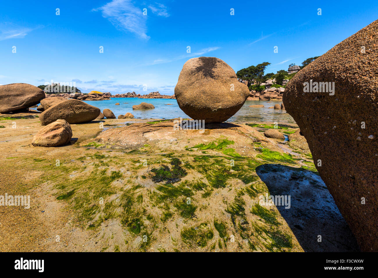 Giant rocks at the Cote granit rose pink granite coast Ploumanac´h Perros Guirec French Brittany France Europe Stock Photo