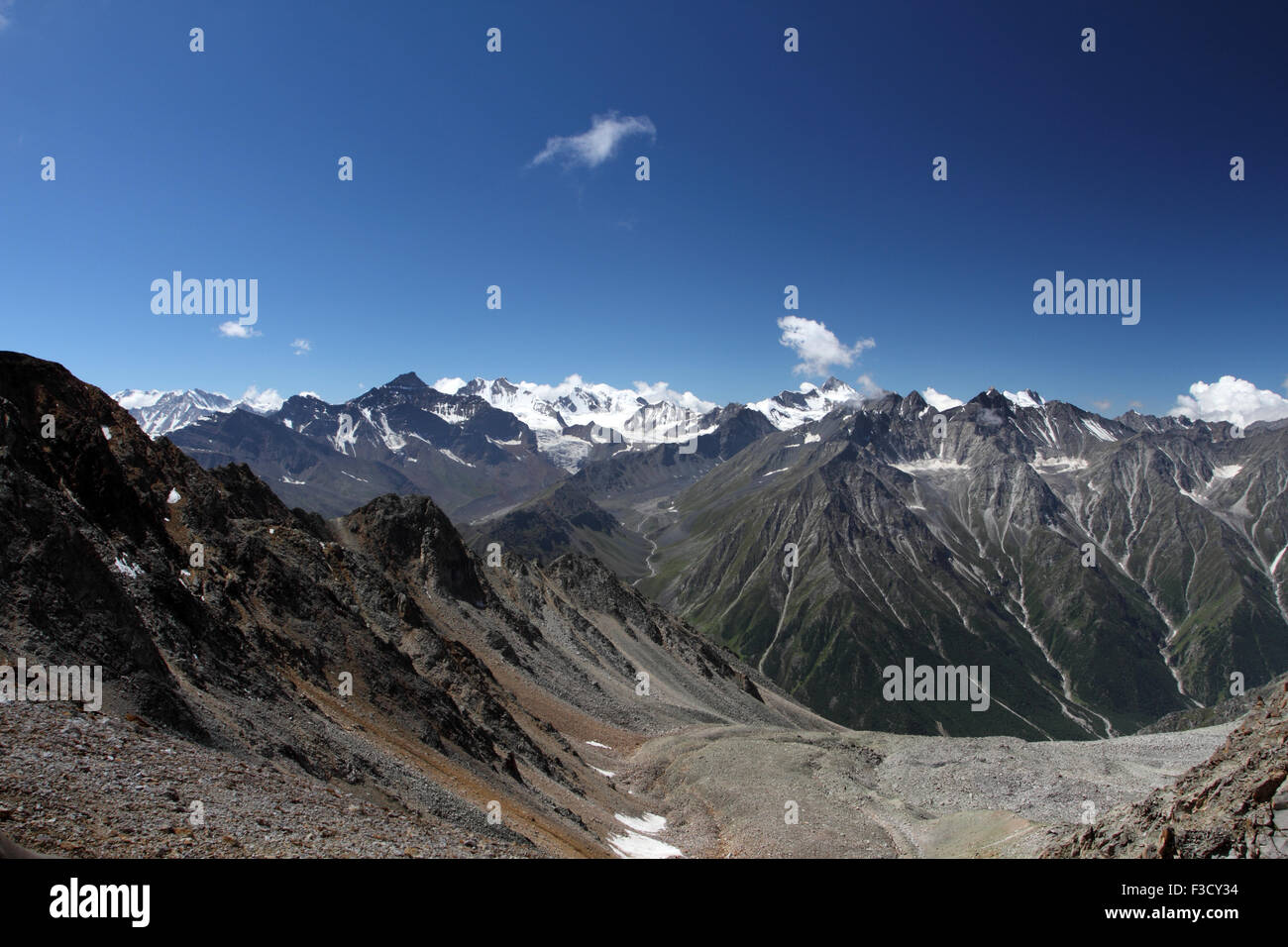 View from Charang La Pass in Himachal Pradesh in India on the route of Kinner Kailash Parikrama. - Stock Image