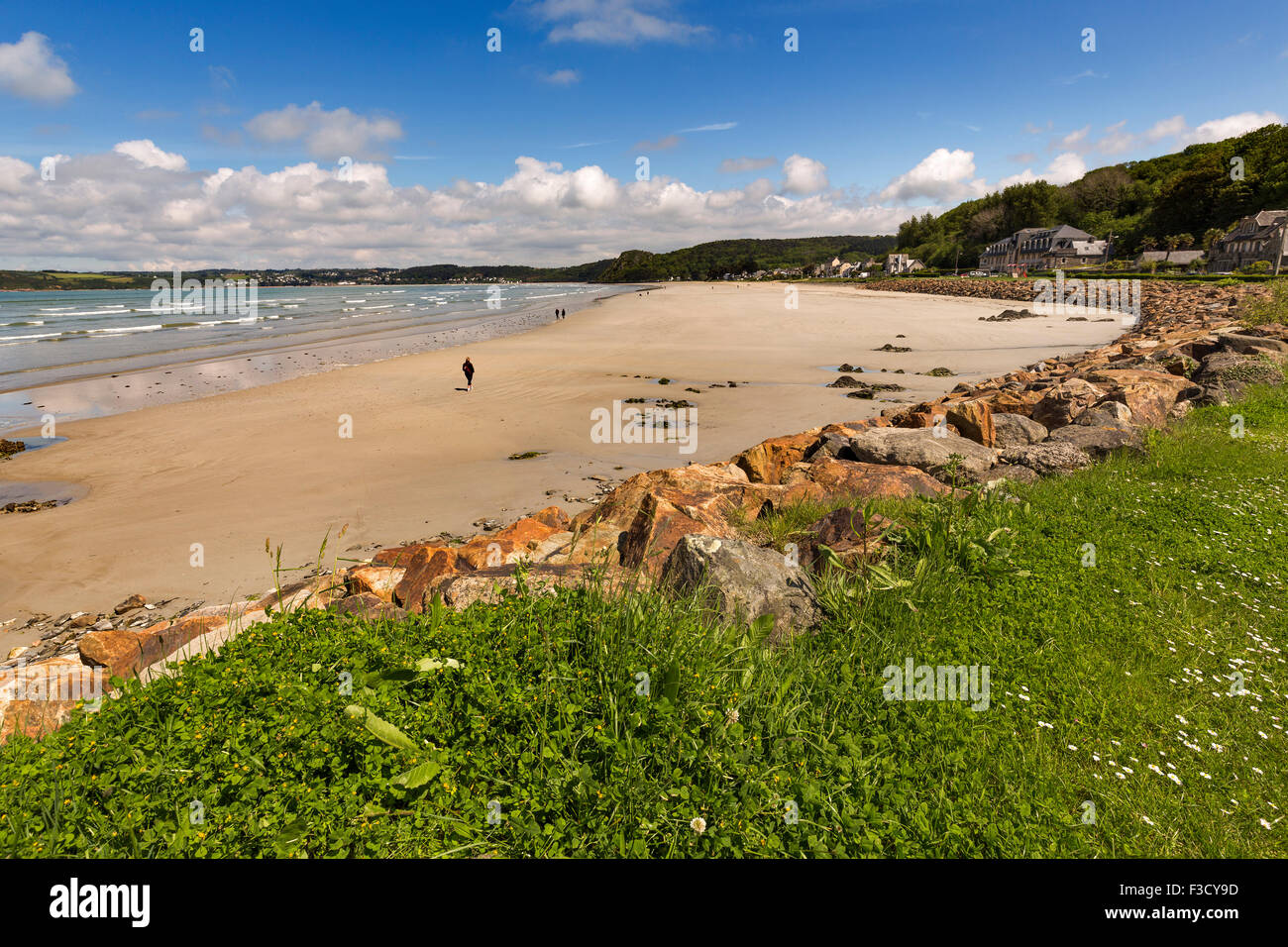 Beach Plestin-les-Grèves French Brittany France Europe - Stock Image
