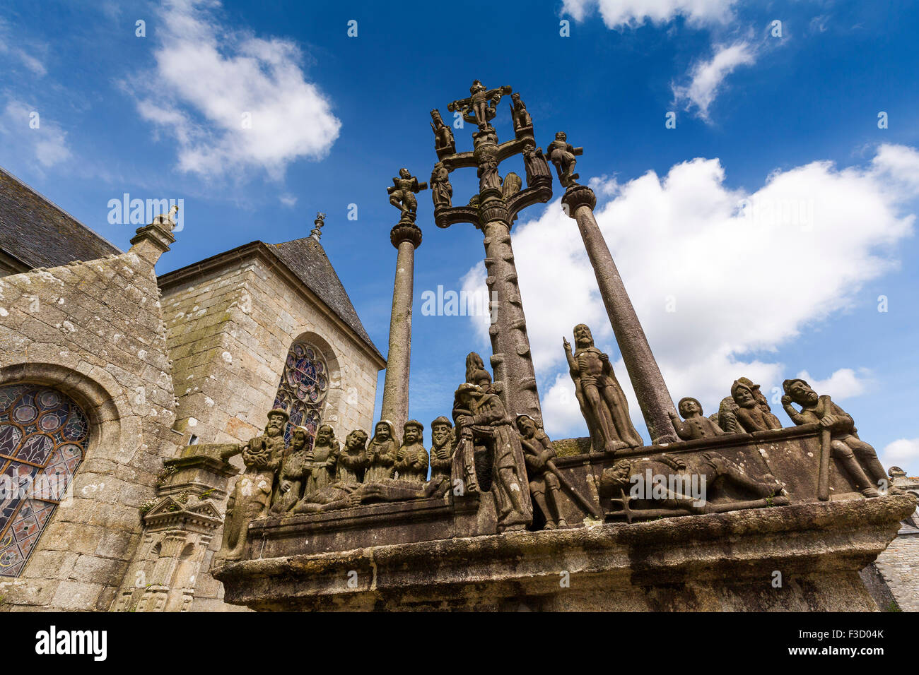 The Calvary parish church Notre-Dame Saint-Thegonnec Way of St James Finistere French Brittany France Europe - Stock Image