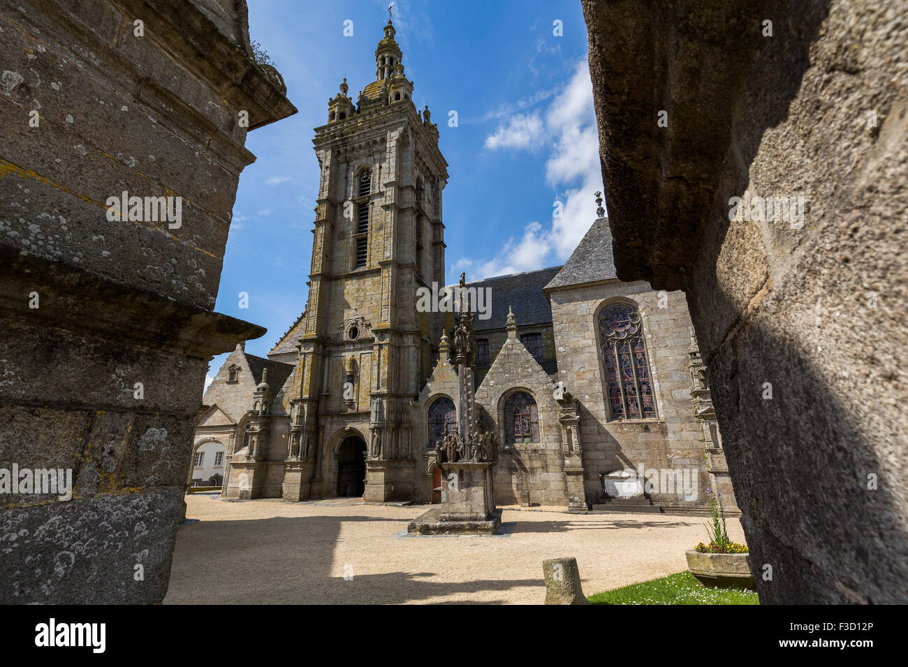 The Calvary parish church Notre-Dame Saint-Thegonnec Way of St James Finistere French Brittany France Europe Stock Photo