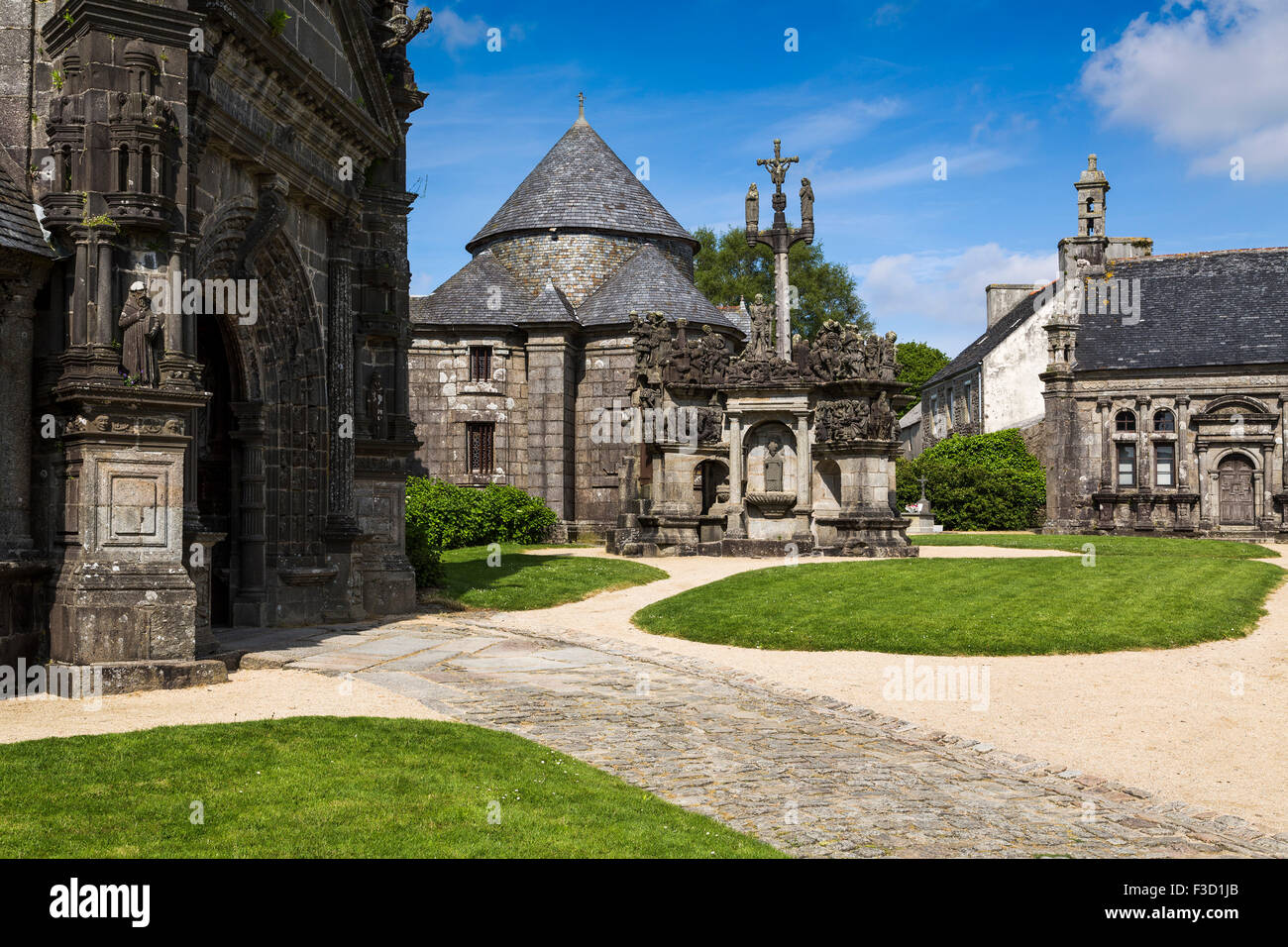 Calvary parish church Guimiliau Way of St James Finistere French Brittany France Europe - Stock Image