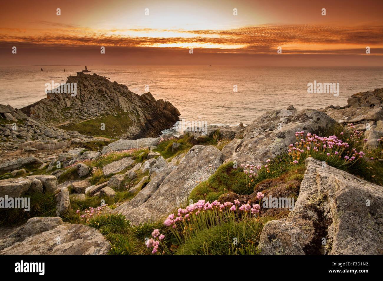 Sunset  Pointe du Raz Finistere French Brittany France Europe - Stock Image