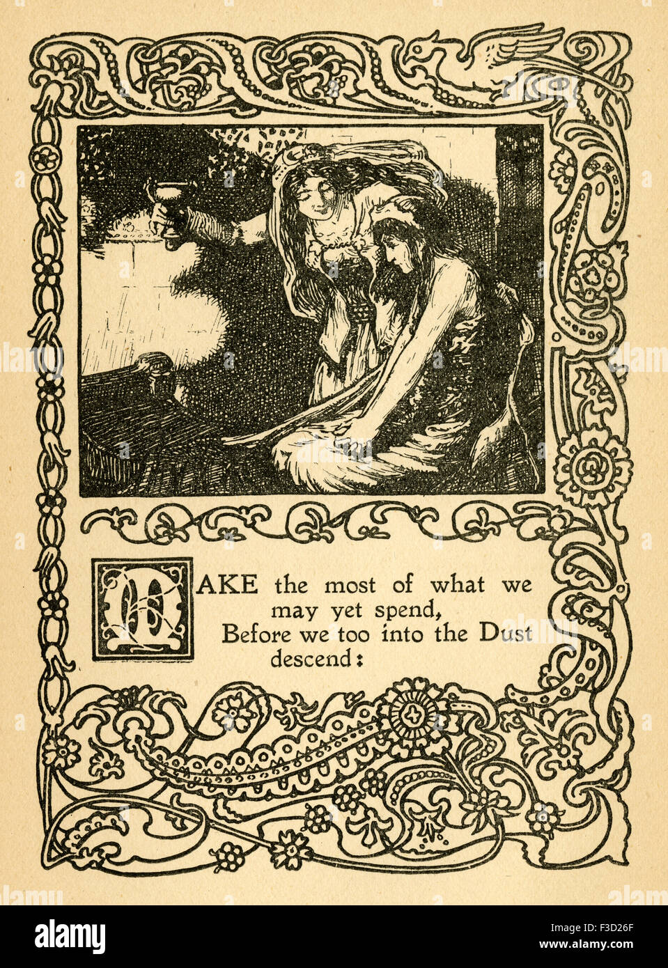 Antique 1904 illustration from The Rubaiyat of Omar Khayyam. 'Make the most of what we may yet spend, Before - Stock Image