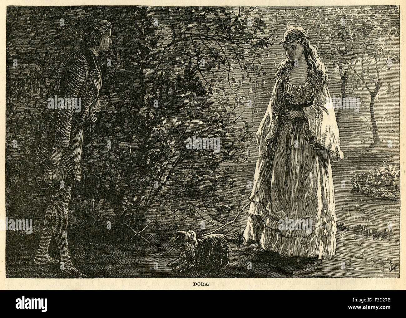 Illustration from 1872 edition of Charles Dickens's David Copperfield. Meeting Dora Spenlow and her dog Jip. - Stock Image