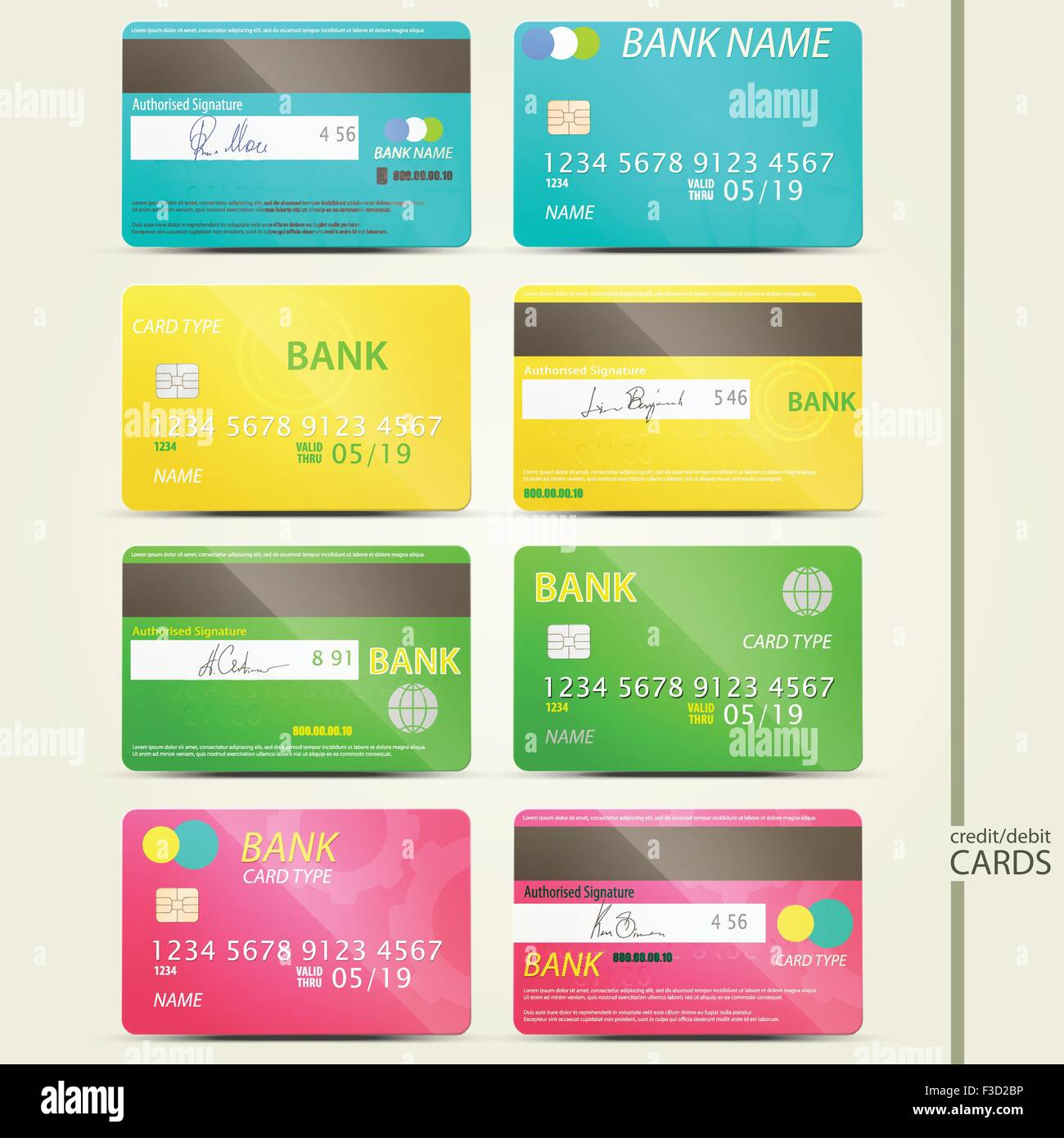 Set of colorful realistic credit card icons with fictitious stock set of colorful realistic credit card icons with fictitious signature and microchip vector money security business concept colourmoves
