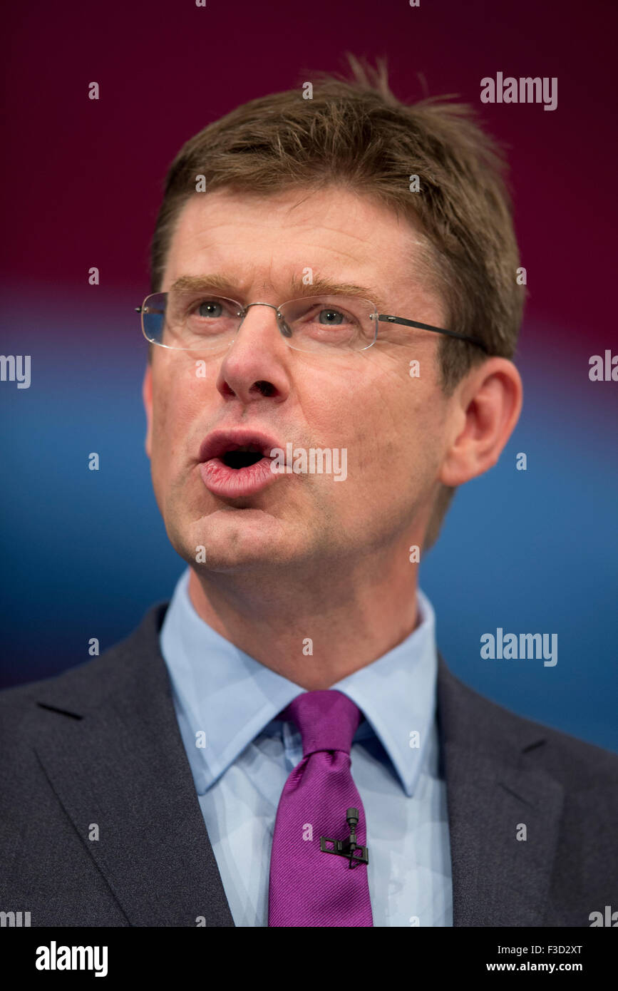 Manchester, UK. 5th October 2015. The Rt Hon Greg Clark MP, Secretary of State for Communities and Local Government - Stock Image