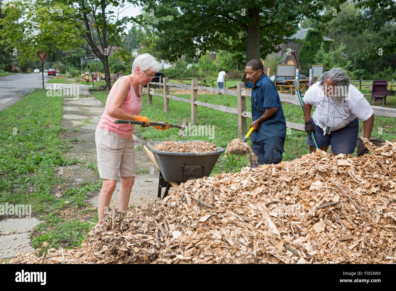 Detroit, Michigan - Members of the Three Mile Block Club work to create a neighborhood park on three vacant lots. Stock Photo