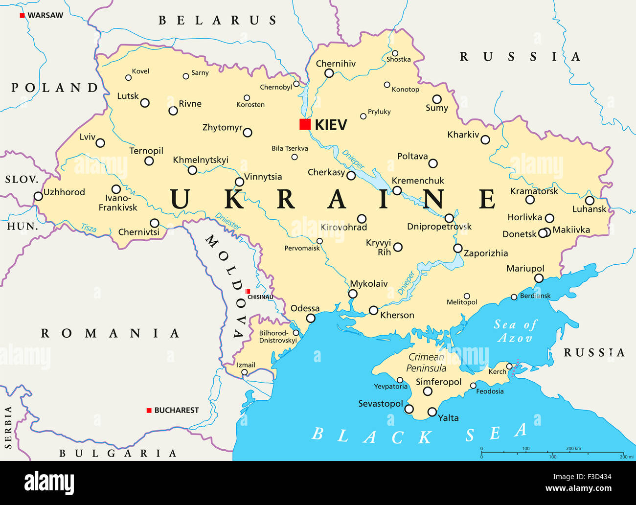Kiev Ukraine Map Ukraine political map with capital Kiev, national borders