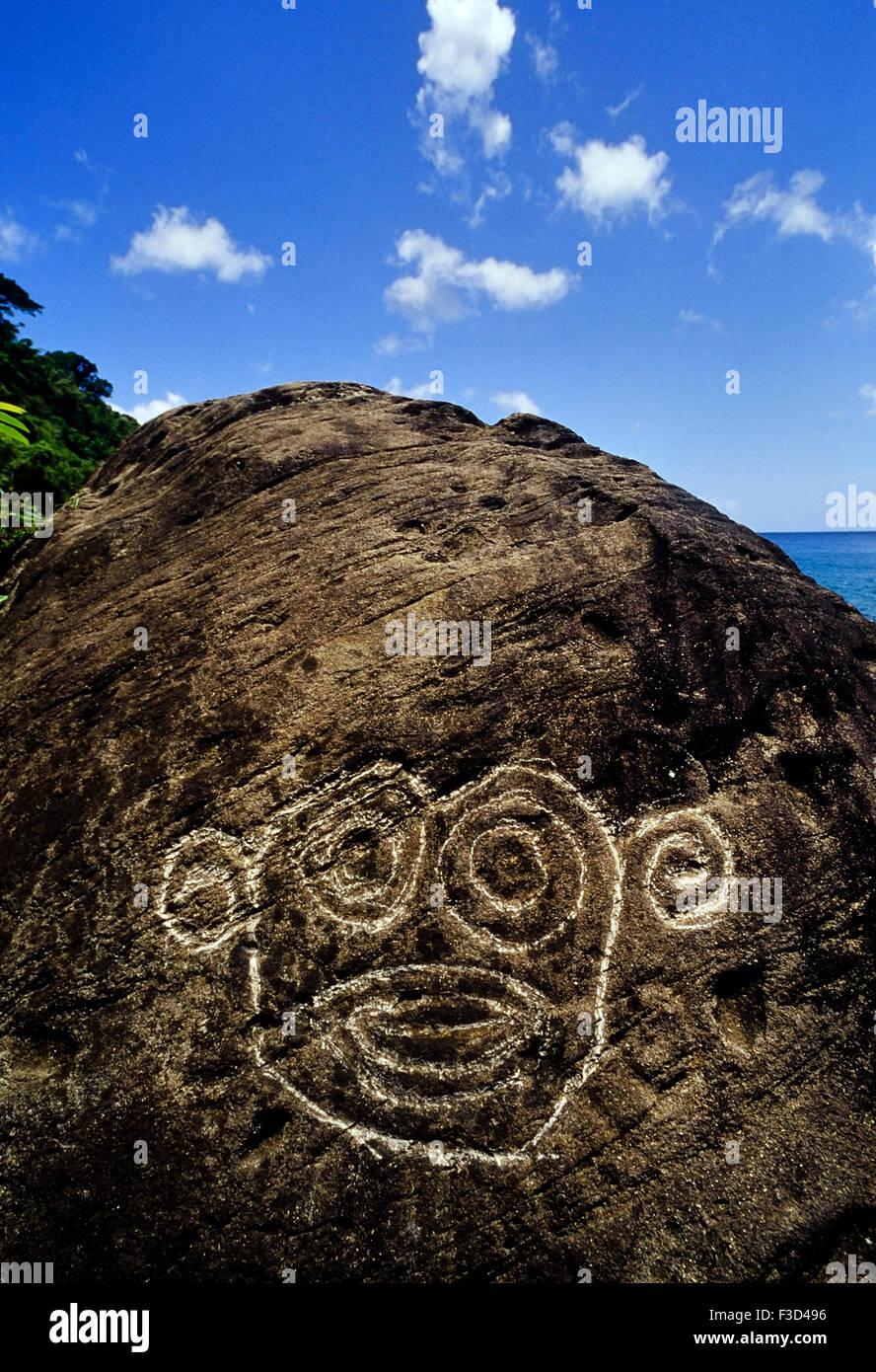 Rock carvings. Grenada. Caribbean, Stock Photo
