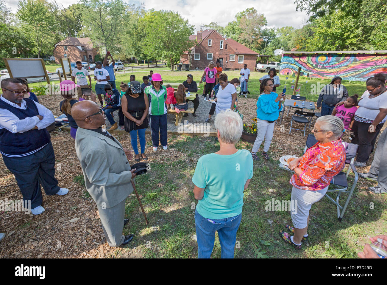 Detroit, Michigan - Members of the Three Mile Block Club dedicate a park they have created where houses were demolished. Stock Photo