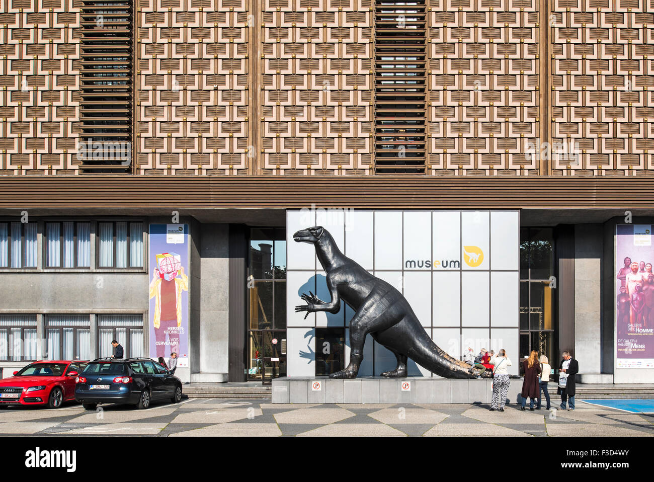 Dinosaur at the entrance of the Royal Belgian Institute of Natural Sciences / Museum of Natural History, Brussels, Stock Photo