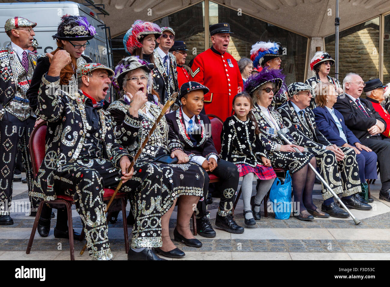 The Annual Pearly Kings and Queens Harvest Festival Held At The Guildhall, London, UK - Stock Image
