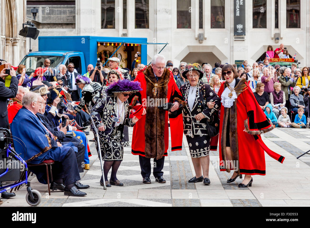 Pearly Queens and London Mayors Take Part In A Procession During The Annual Pearly Kings and Queens Harvest Festival, - Stock Image