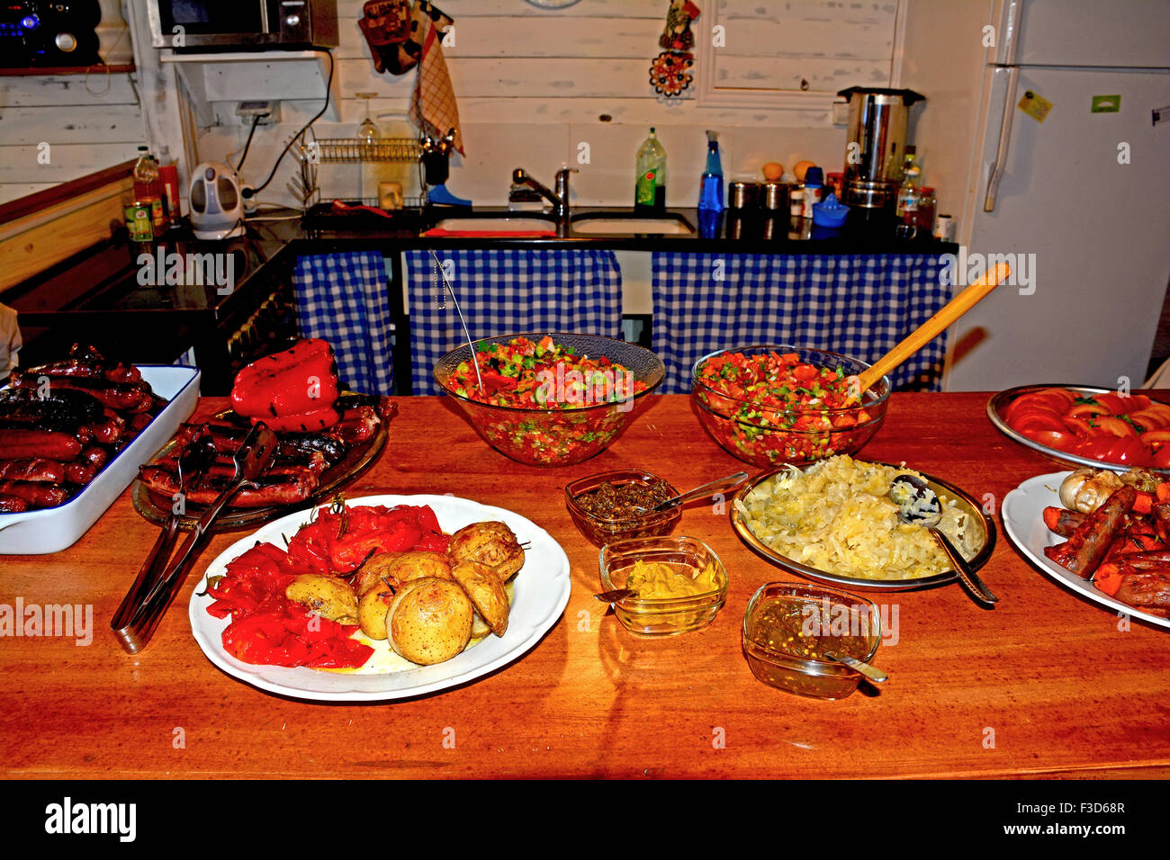 Home cooking Kitchen, Food on the table - Stock Image