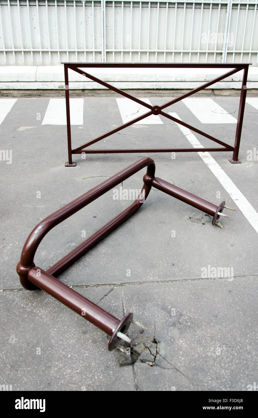 Outside vandalism of a public property in the street - Stock Image