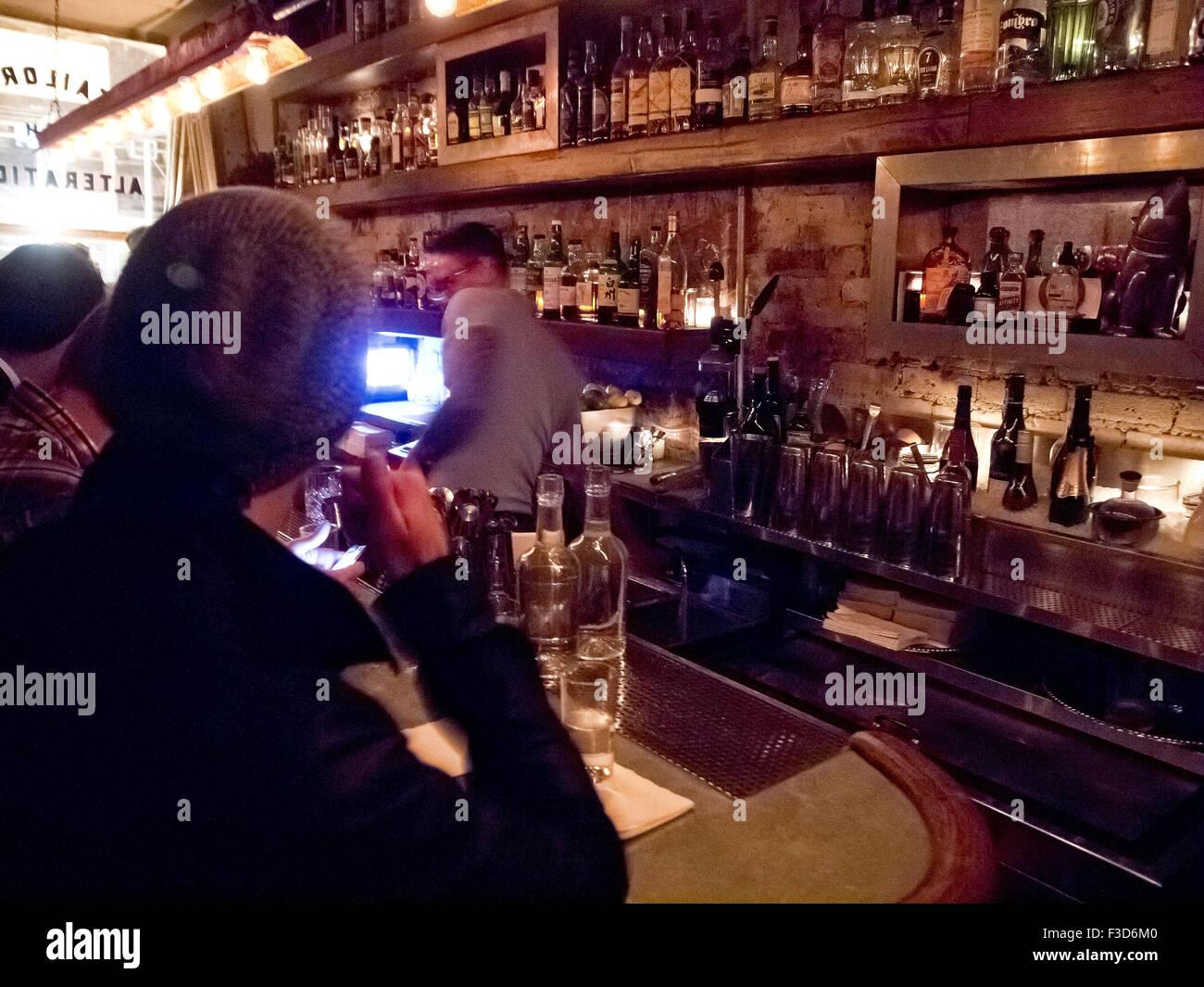 Attaboy speak-easy bar in NYC: Interior Stock Photo
