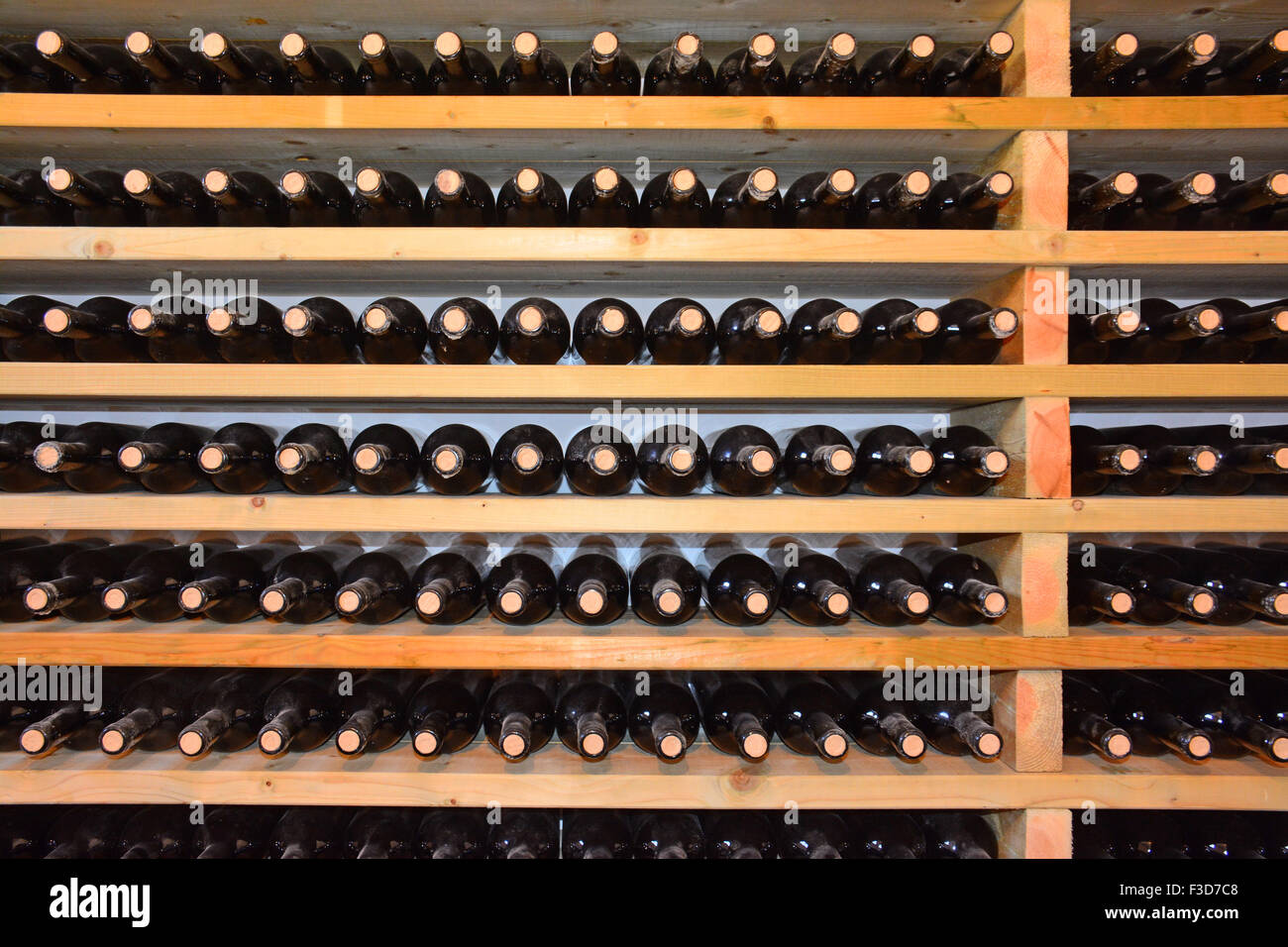 Wine bottles in the cellar - Stock Image
