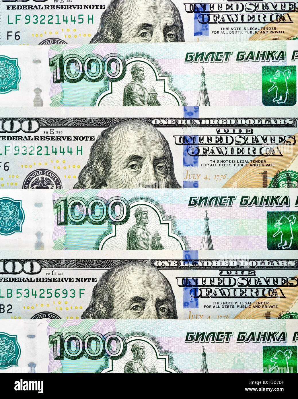 Dollar and ruble mix texture or background - Stock Image