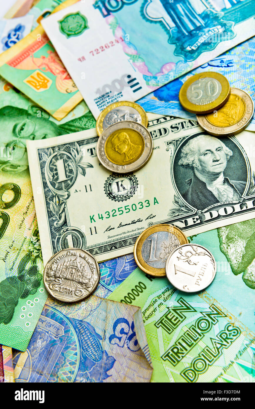 Major currencies in the world - Stock Image