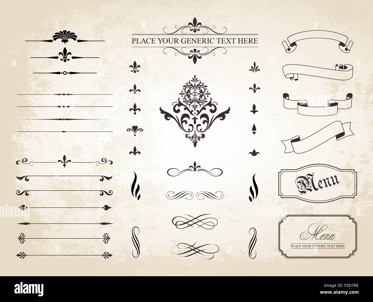 This image is a vector file representing a set of  Vintage Decorative Ornament Borders and Page Dividers. - Stock Image