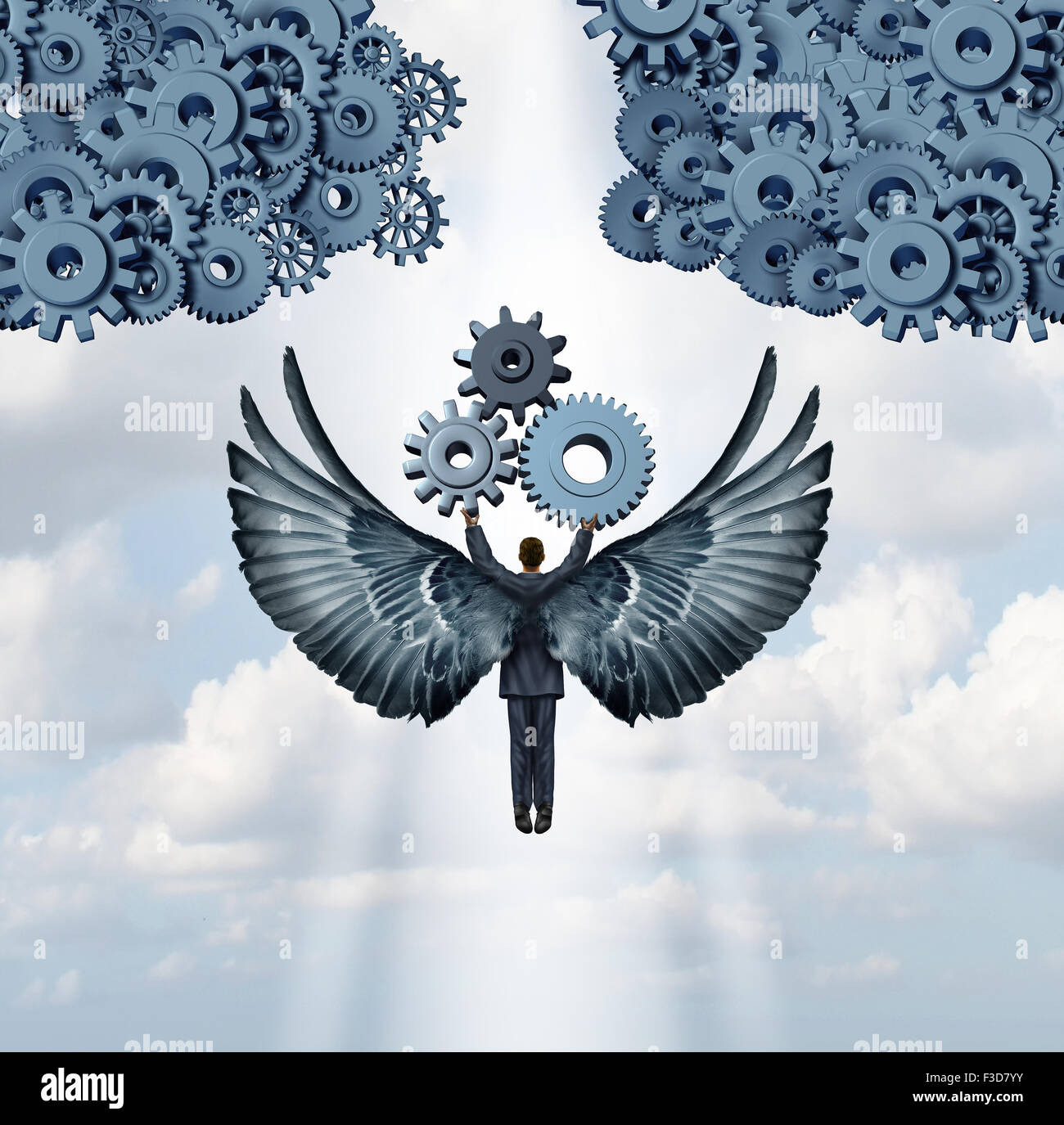 Business angel investor concept and entrepreneur venture capitalist symbol as a businessman with wings flying upward - Stock Image