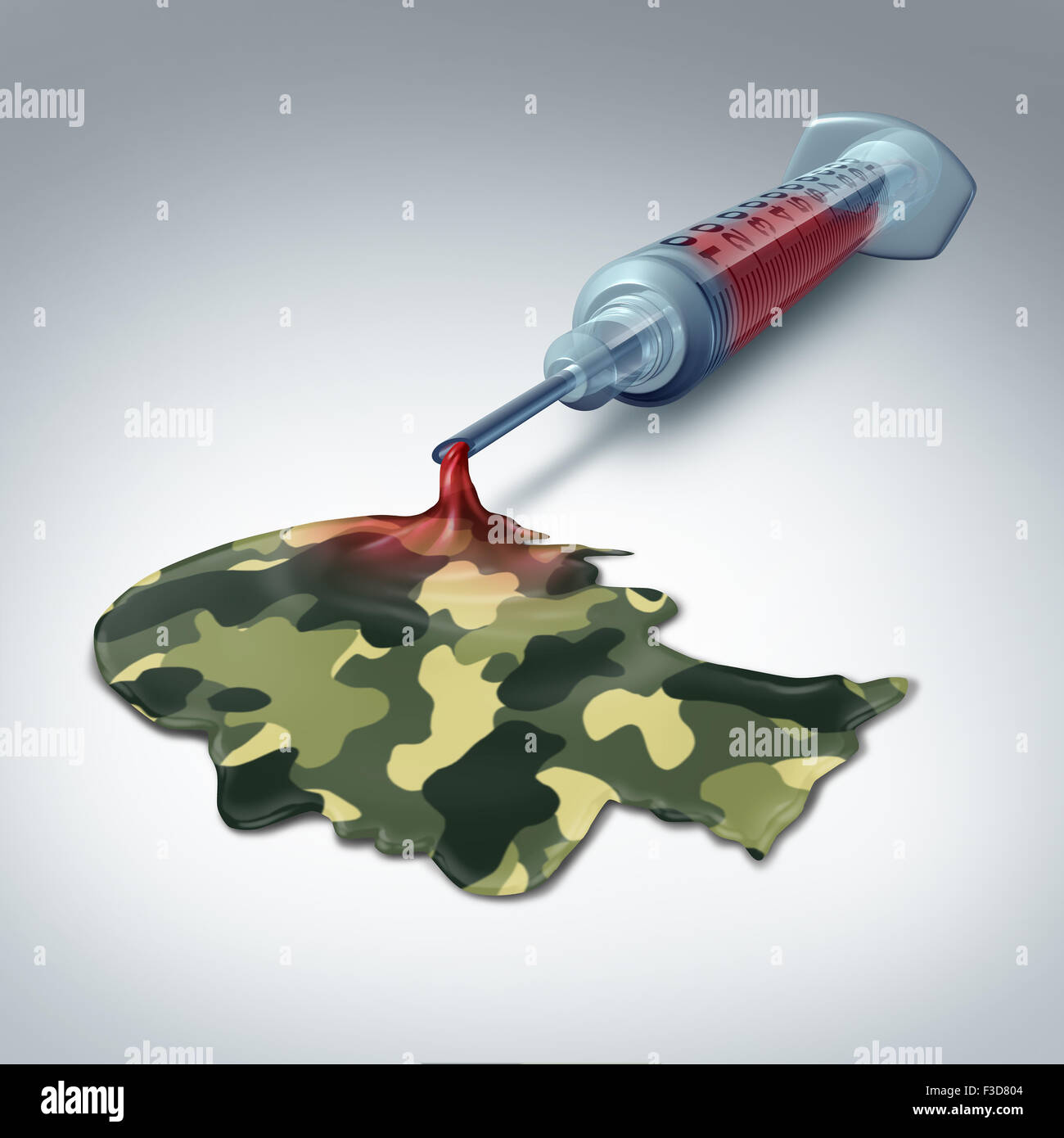 Military health care concept and veteran medical care metaphor as a syringe with blood emerging out as liquid with - Stock Image