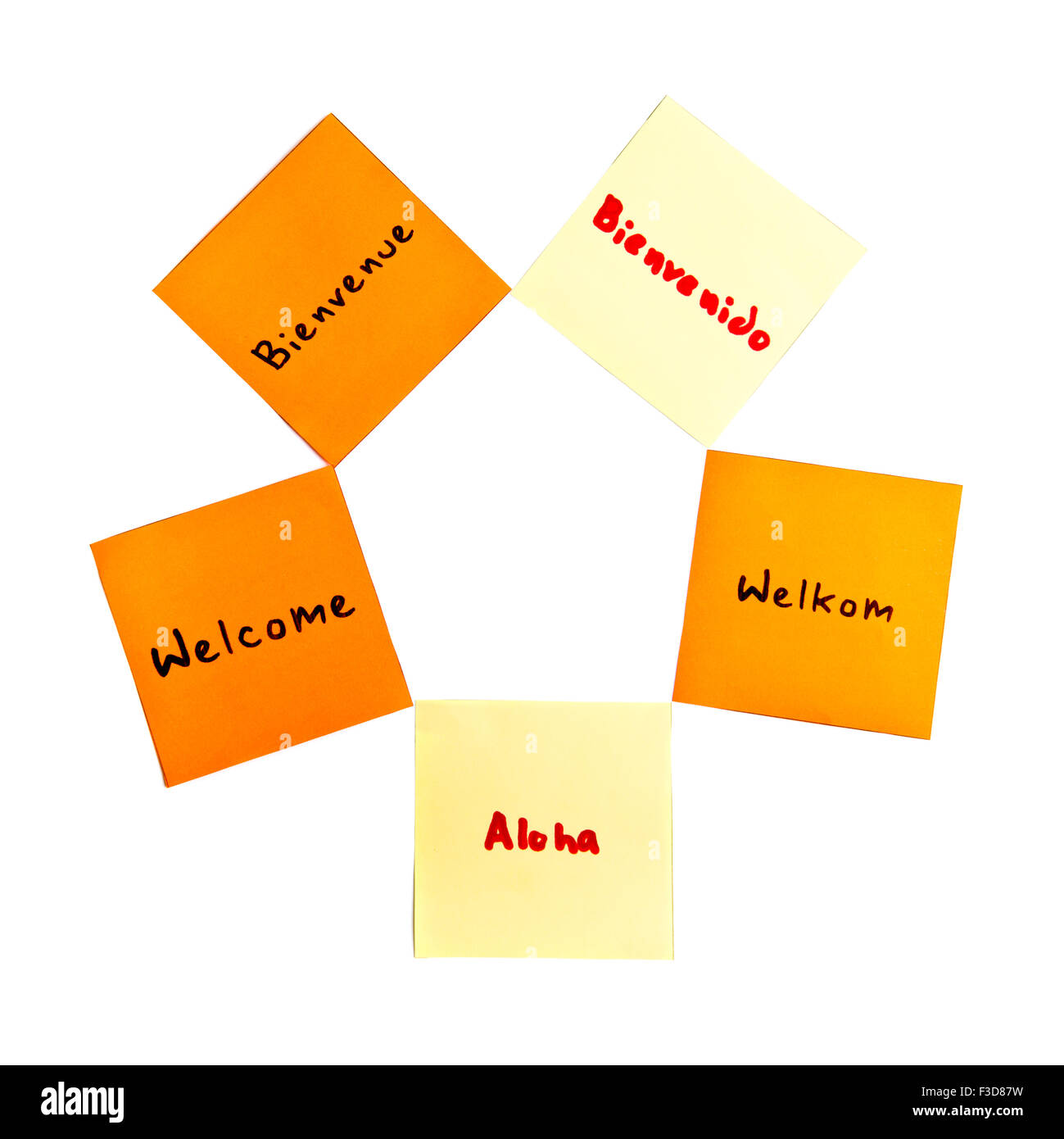 welcome Word Cloud written on paper - Stock Image