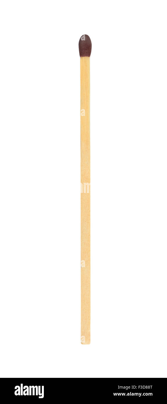 Single match stick isolated on white with work path - Stock Image