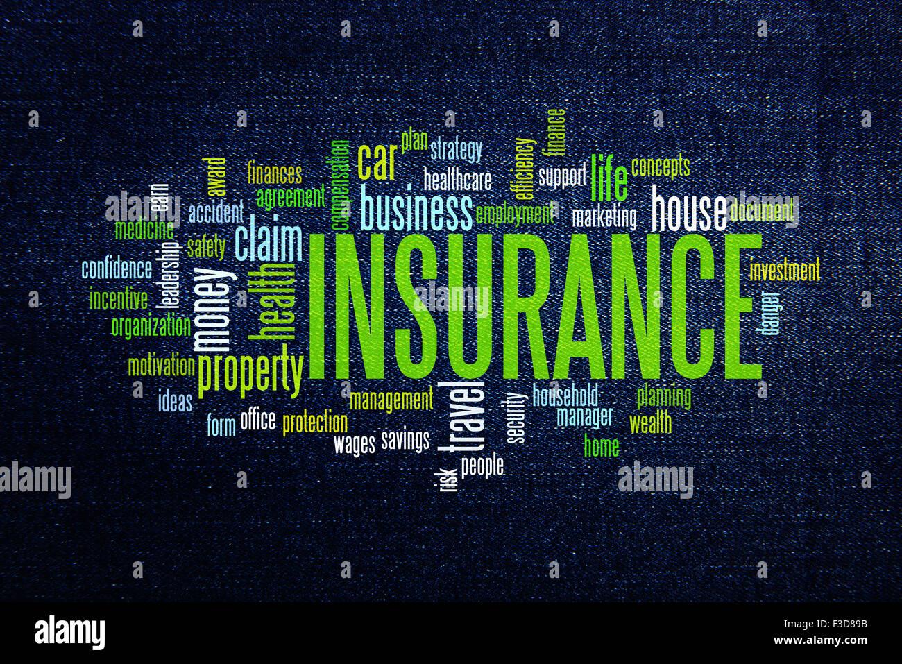Insurance protection info text arrangement concept word cloud - Stock Image