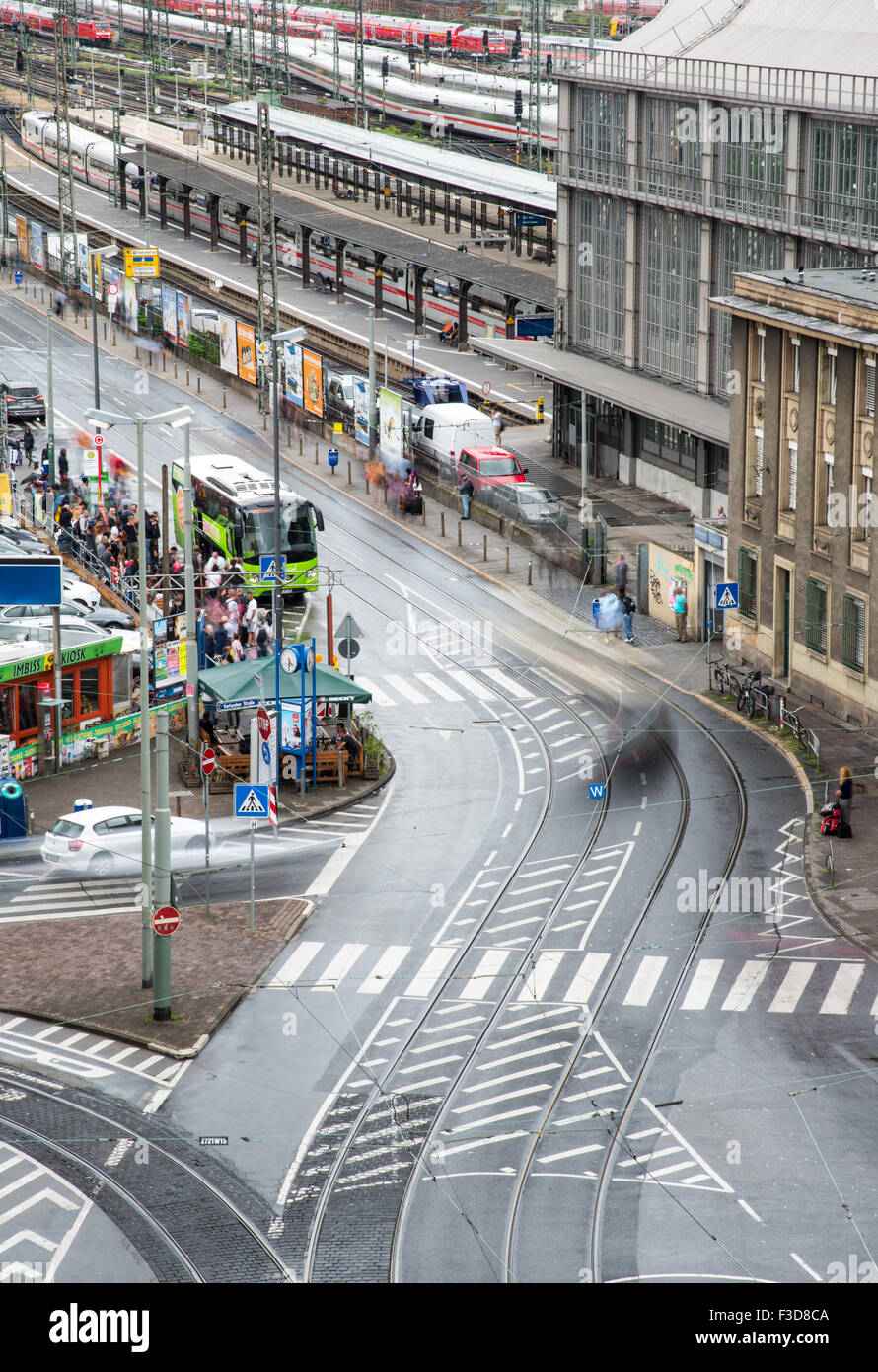 Frankfurt city main road near main train station building with people waiting for the bus Stock Photo