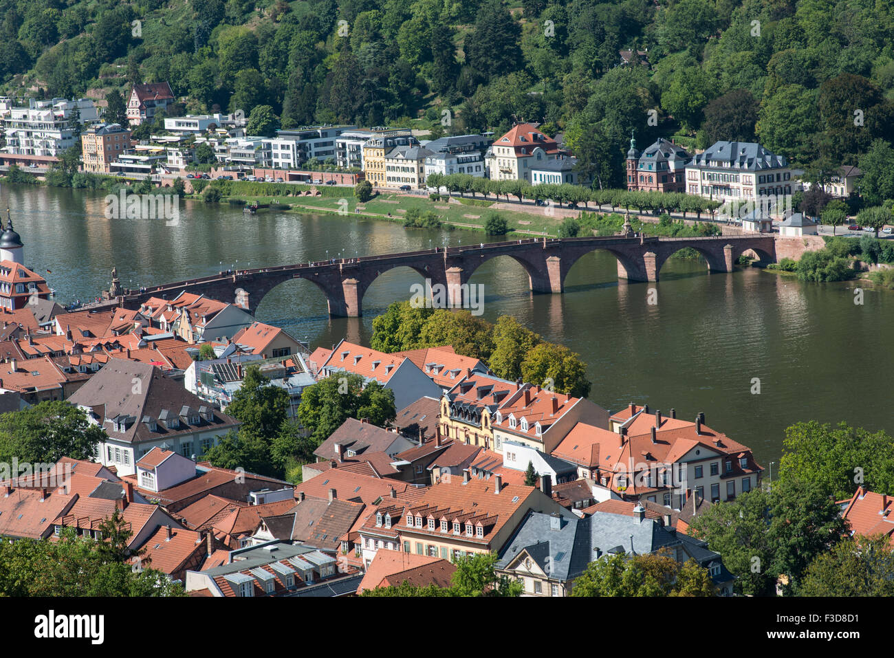 Cityscape of the historical town of Heidelberg in Germany from the castle hill with view of the Alte Bruecke, old - Stock Image