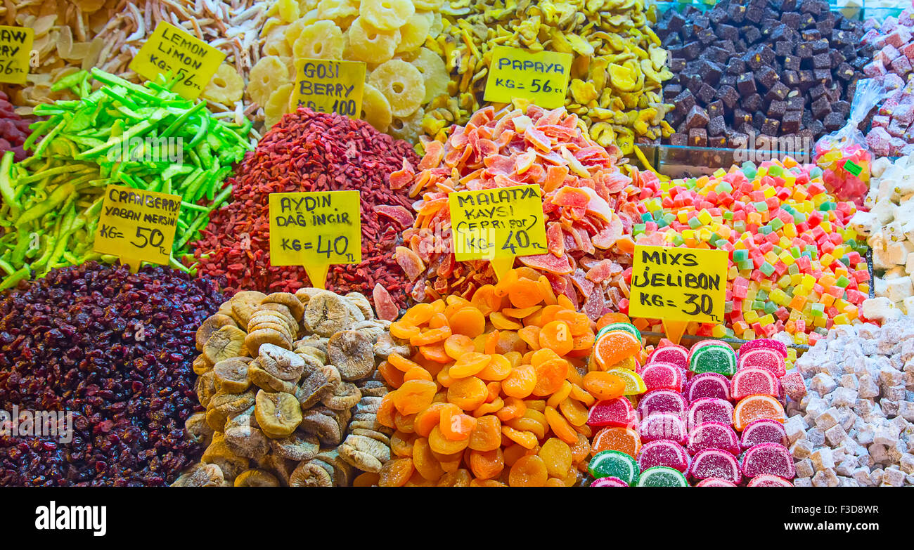 Famous turkish delights on the market Stock Photo