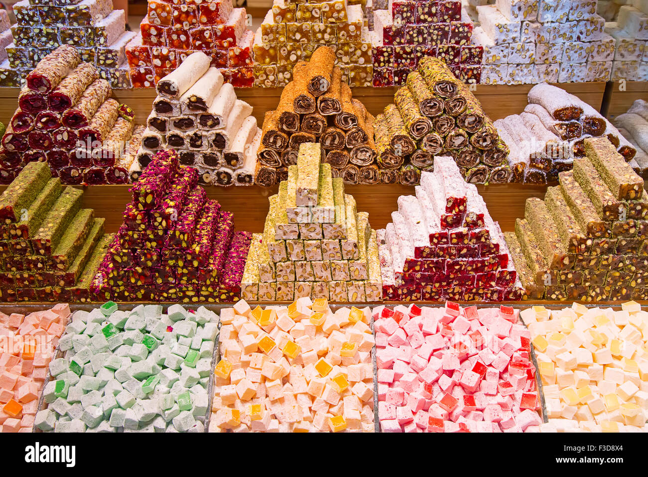 Famous turkish delights on the market Stock Photo
