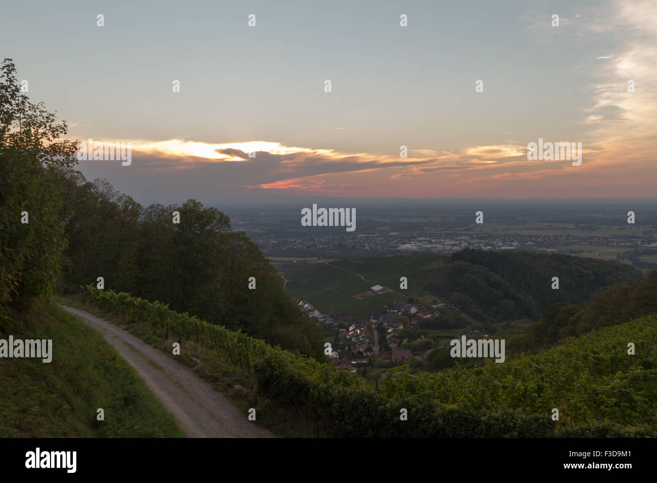 View from the castle ruins Neuwindeck in Buhl, Baden-Wurttemberg, Germany - Stock Image