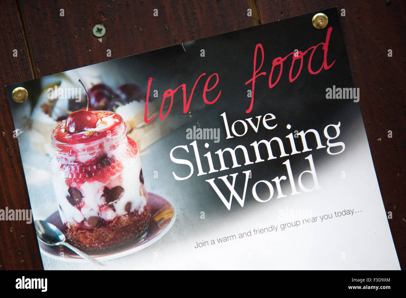A Slimming World advert on a notice board. - Stock Image