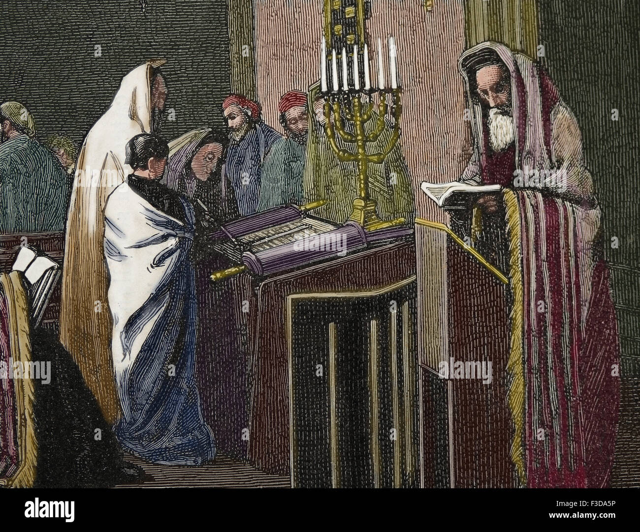 Religion. Judaism. Rabbi is reading in Torah at Synagogue. Engraving by Froment, published on La Illustracion, 1870, - Stock Image