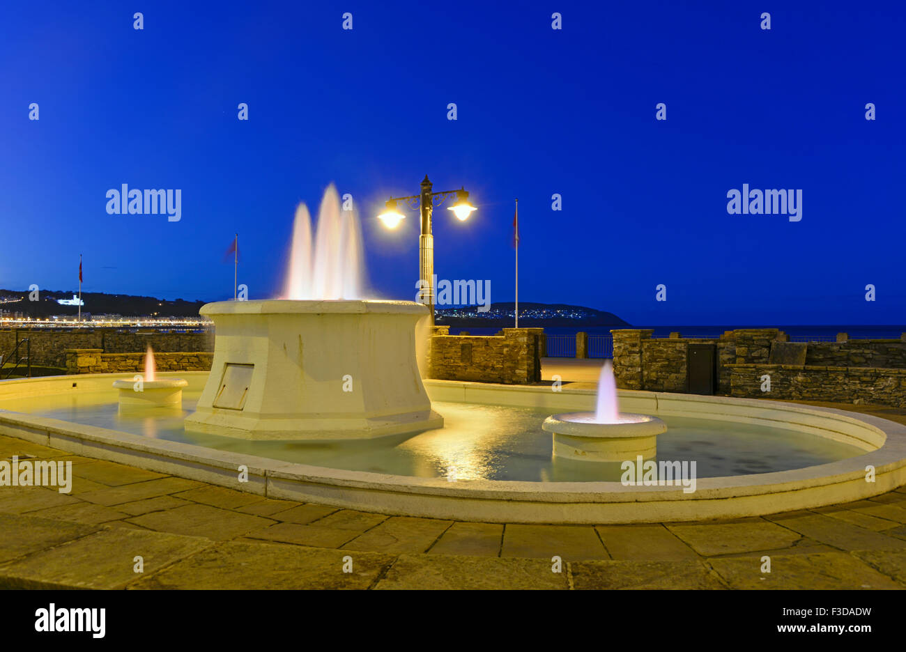 Floodlit fountain, the promenade Douglas IoM Stock Photo