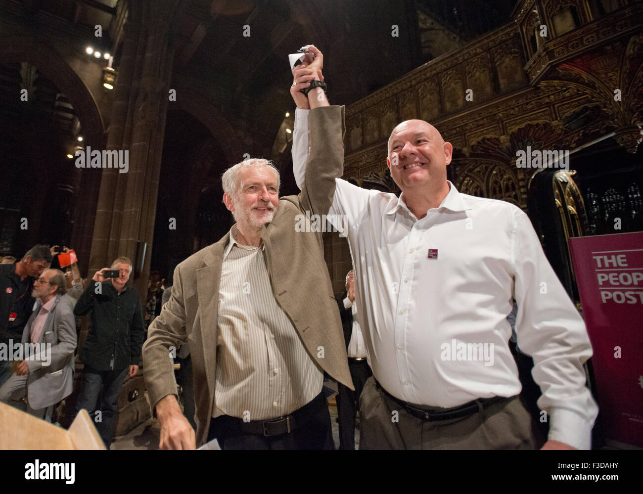 Manchester, UK. 5th October 2015. Dave Ward, General Secretary of the Communication Workers Union (CWU) (right), - Stock Image