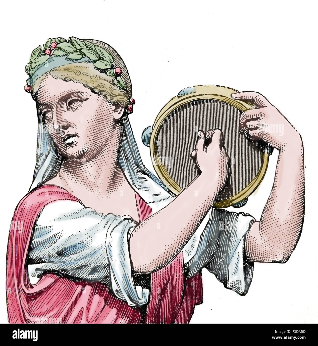 Ancient Age. Roman period. Playing tympanum. Type of tambourine. Engraving, 19th century. Later colouration. - Stock Image