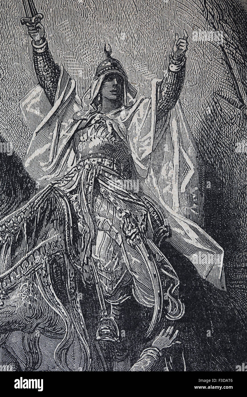 Saladin (1137/38-1193). Sultan of Egypt and Syria. Opposed to the European Crusaders. Engraving by Gustave Dore - Stock Image