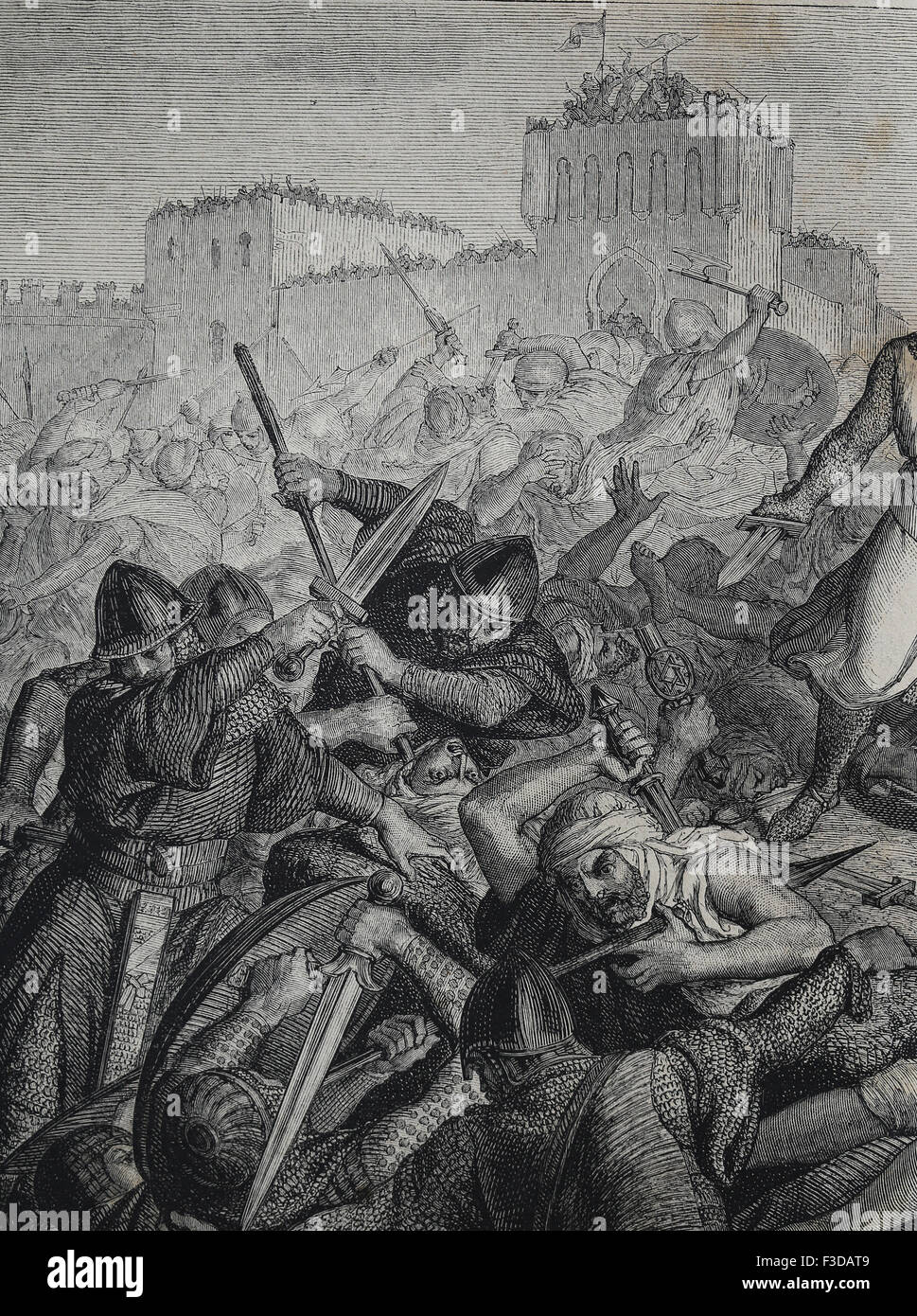 Spain. Conquest of Valencia. El Cid (1043-1099). Battle of Cuarte, 1094. Christians and Moorish army. Engraving. - Stock Image