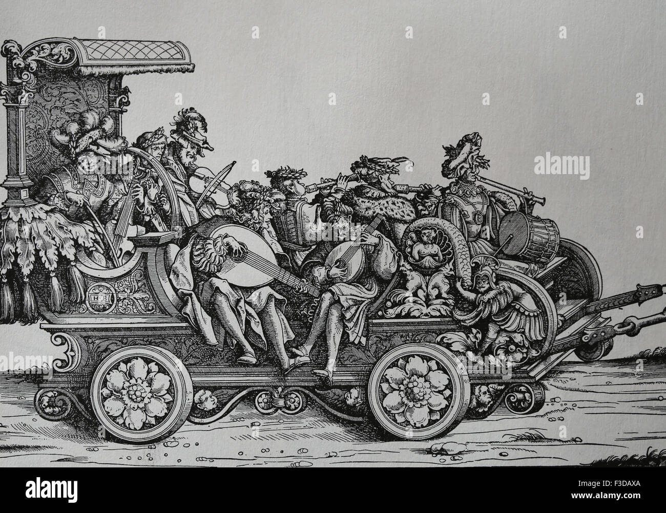 Europe. Italy. Carriage with musicians playing different musical instruments. Engraving. - Stock Image
