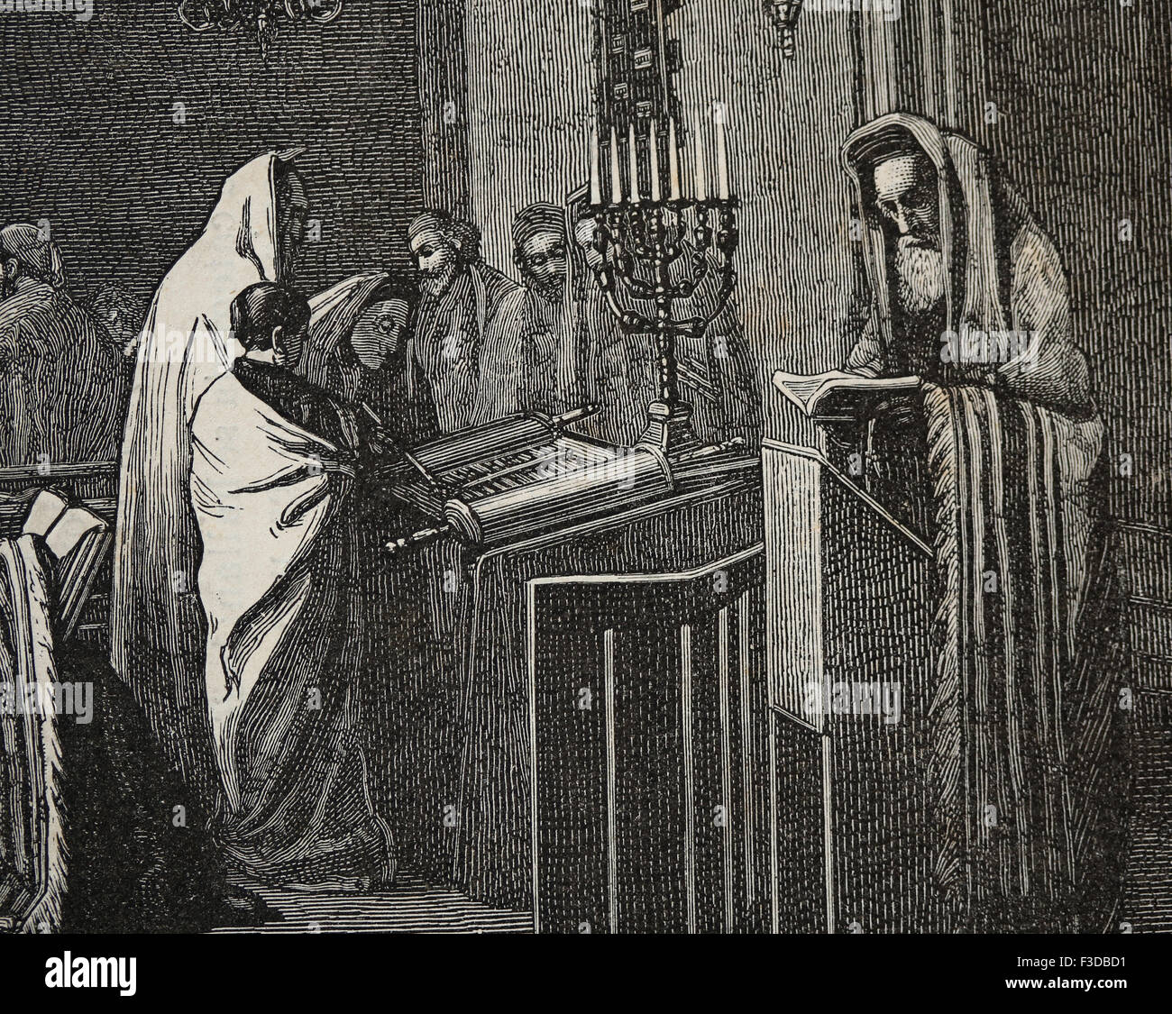 Religion. Judaism. Rabbi is reading in Torah at Synagogue. Engraving by Froment, published on La Ilustracion, 1870, - Stock Image